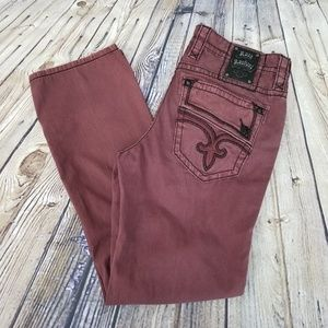 Rock Revival Mens 34X33 Oxblood Distressed Straigh